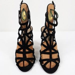 Vince Camuto Black Suede  Caged Heal